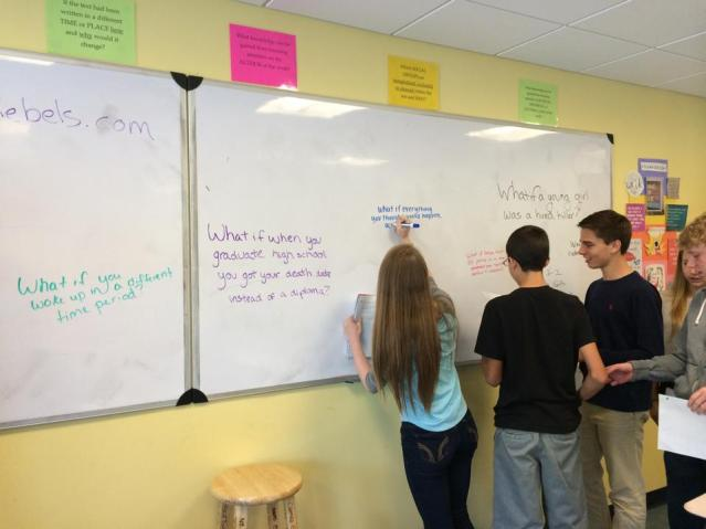 "Students team up in pairs to write their own, ""What If's"" as a tool to jump start their storytelling minds."
