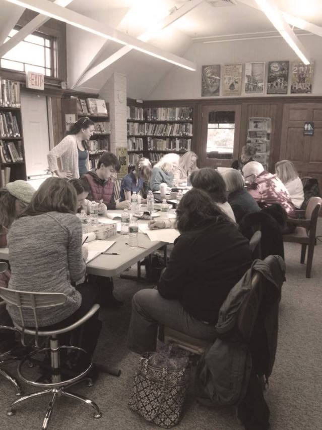 Kate teaches Writing in Reverse to a packed class at the Marston's Mills library.